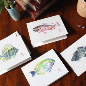 Gyotaku Hawaiian Fish Note Cards (set of 4 )