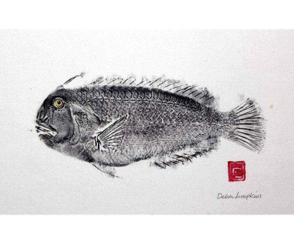 Black Lae nihi, 7 x 11, ink on silk, ID# 16077