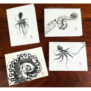 he`e octopus note cards