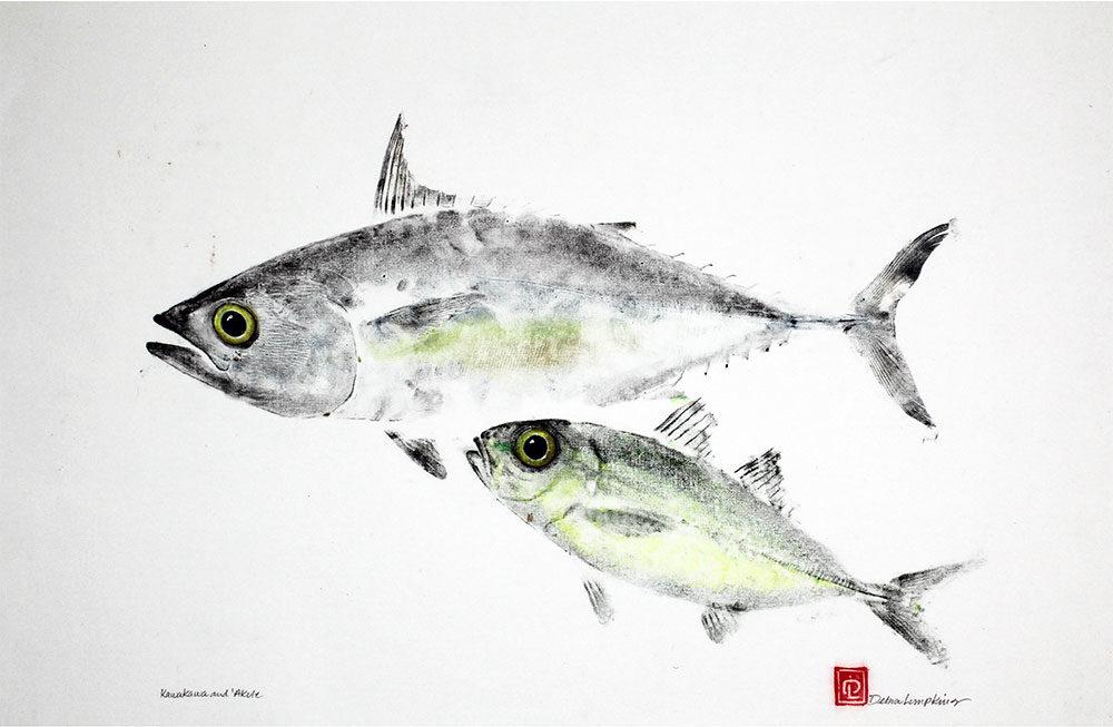 16101 kawakawa akule gyotaku fish print