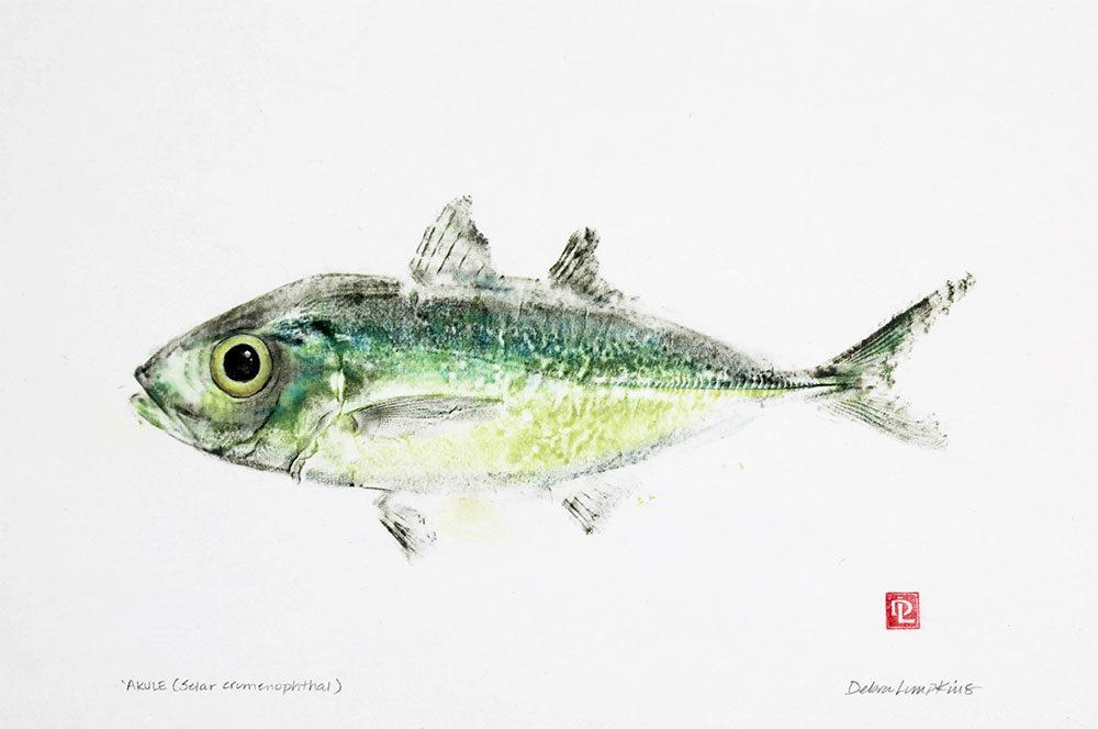 16102 akule gyotaku fish print