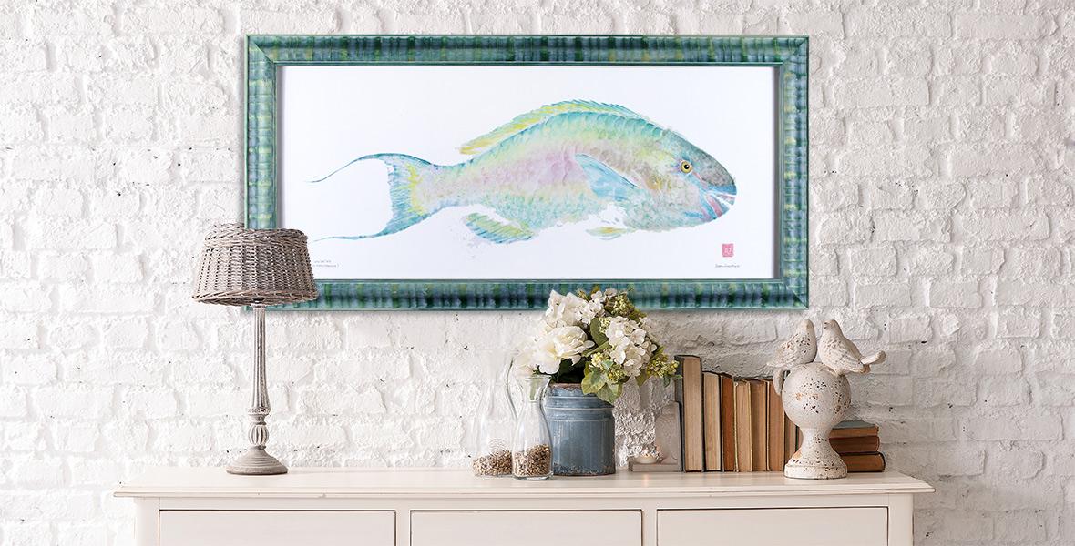 Uhu Parrotfish gyotaku by Debra Lumpkins Studio